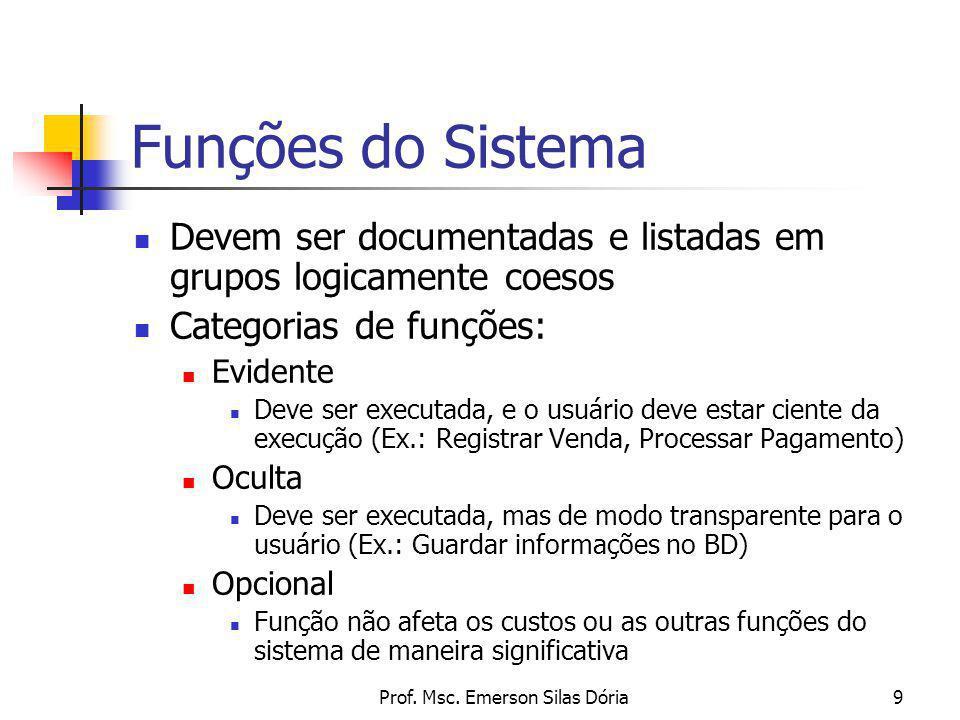 Prof. Msc. Emerson Silas Dória9 Funções do Sistema Devem ser documentadas e listadas em grupos logicamente coesos Categorias de funções: Evidente Deve
