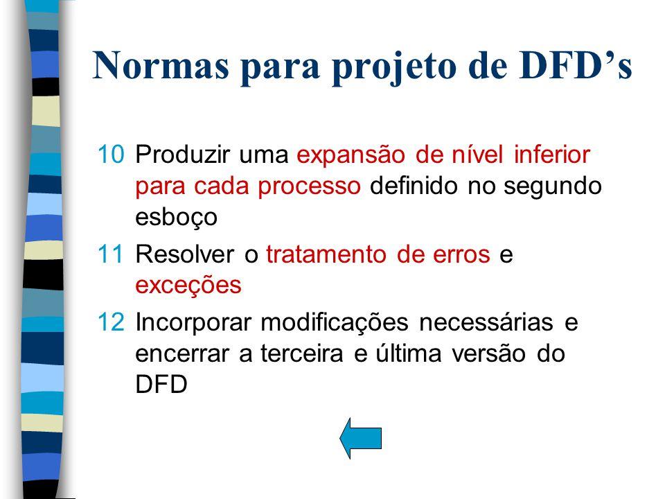 10 Produzir uma expansão de nível inferior para cada processo definido no segundo esboço 11Resolver o tratamento de erros e exceções 12Incorporar modificações necessárias e encerrar a terceira e última versão do DFD Normas para projeto de DFD's