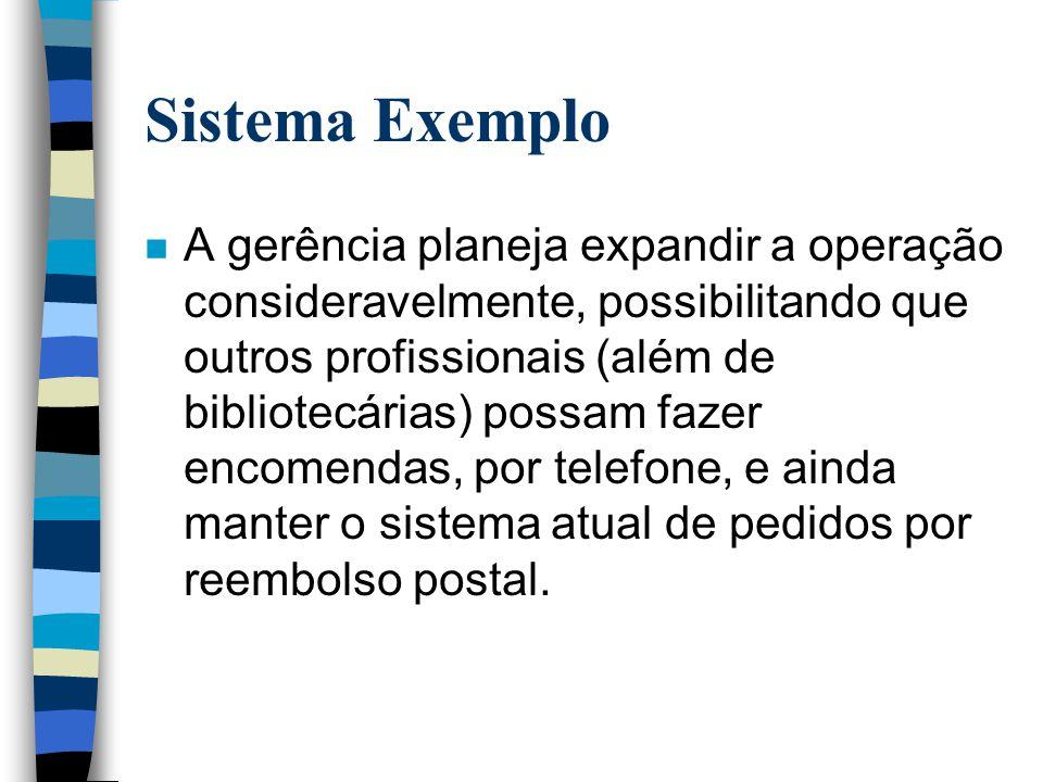 Sistema Exemplo n A gerência planeja expandir a operação consideravelmente, possibilitando que outros profissionais (além de bibliotecárias) possam fa