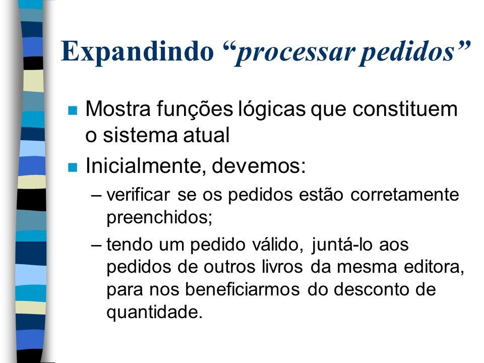 """Expandindo """"processar pedidos"""" n Mostra funções lógicas que constituem o sistema atual n Inicialmente, devemos: –verificar se os pedidos estão correta"""