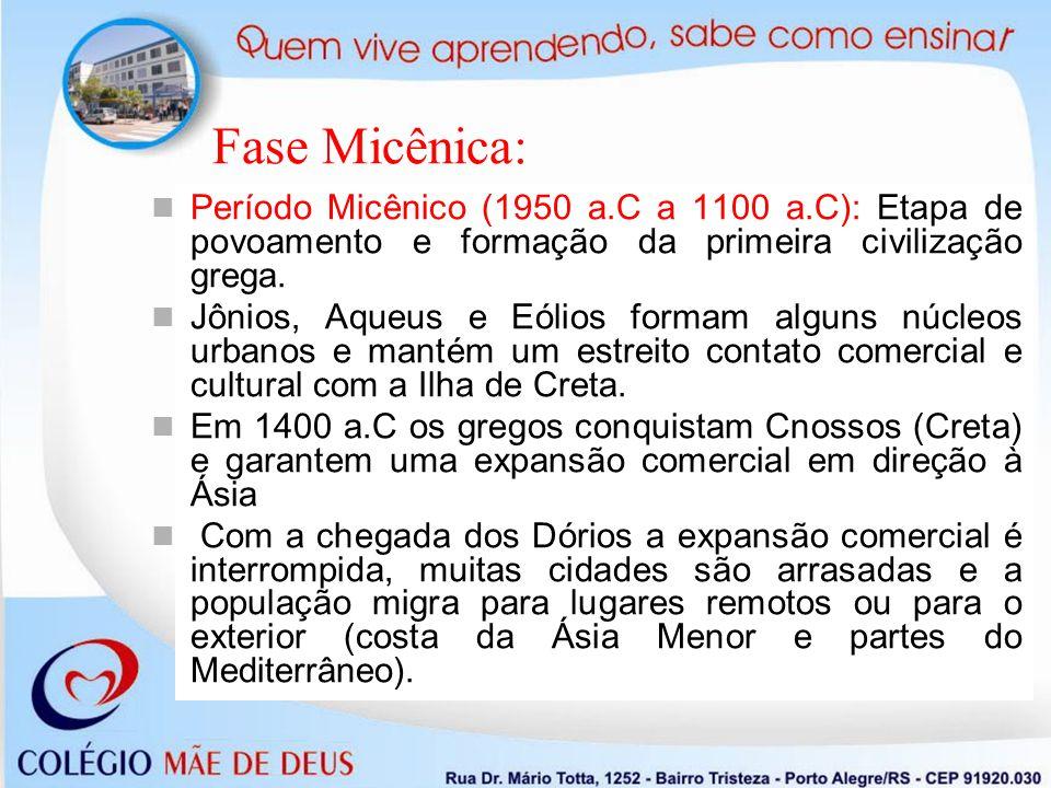 Fase Micênica: Período Homérico (1100 a.C a 800 a.C): A chegada dos Dórios faz a vida urbana desaparecer.