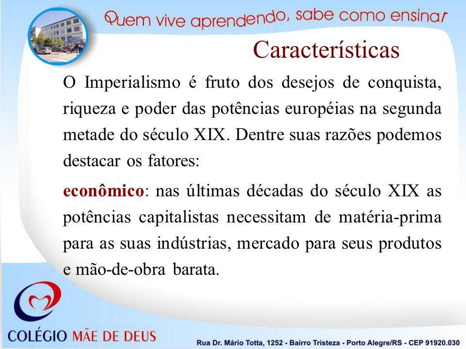 O Imperialismo é fruto dos desejos de conquista, riqueza e poder das potências européias na segunda metade do século XIX. Dentre suas razões podemos d