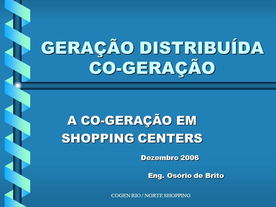 COGEN RIO / NORTE SHOPPING Economia de escopo: co- geração Caldeira 59 9 35 50 Co- geração 100 15 Geração Central 100 58 7 159 GC GD Demanda: 50 u calor 35 u ee