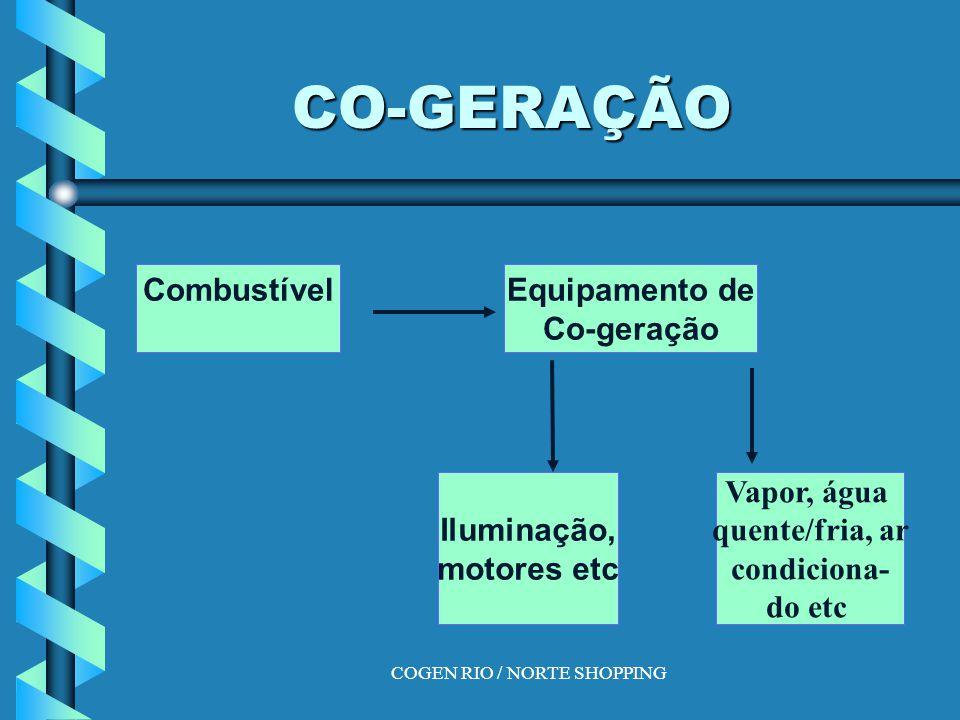 COGEN RIO / NORTE SHOPPING CO-GERAÇÃO CombustívelEquipamento de Co-geração Iluminação, motores etc Vapor, água quente/fria, ar condiciona- do etc