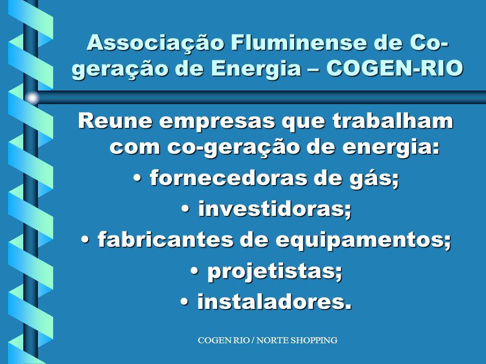 COGEN RIO / NORTE SHOPPING Associação Fluminense de Co- geração de Energia – COGEN-RIO Reune empresas que trabalham com co-geração de energia: fornecedoras de gás;fornecedoras de gás; investidoras;investidoras; fabricantes de equipamentos;fabricantes de equipamentos; projetistas;projetistas; instaladores.instaladores.