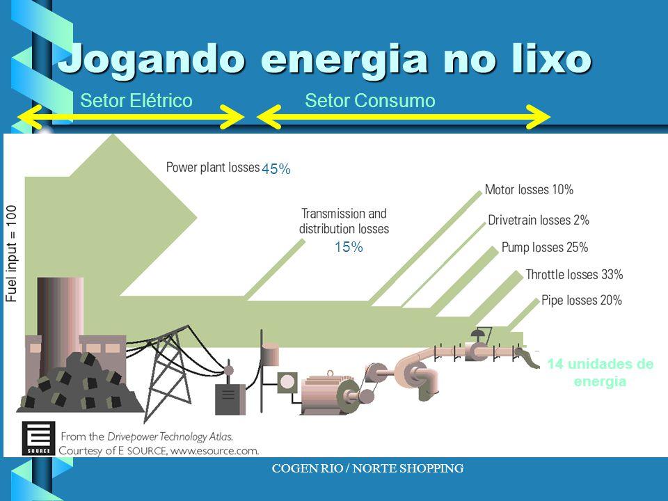 COGEN RIO / NORTE SHOPPING Jogando energia no lixo 45% 15% 14 unidades de energia Setor ElétricoSetor Consumo
