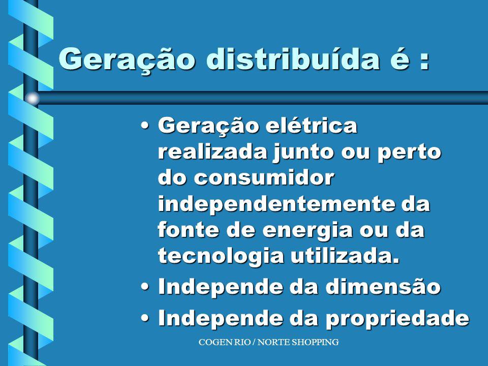 COGEN RIO / NORTE SHOPPING Geração distribuída é : Geração elétrica realizada junto ou perto do consumidor independentemente da fonte de energia ou da tecnologia utilizada.Geração elétrica realizada junto ou perto do consumidor independentemente da fonte de energia ou da tecnologia utilizada.