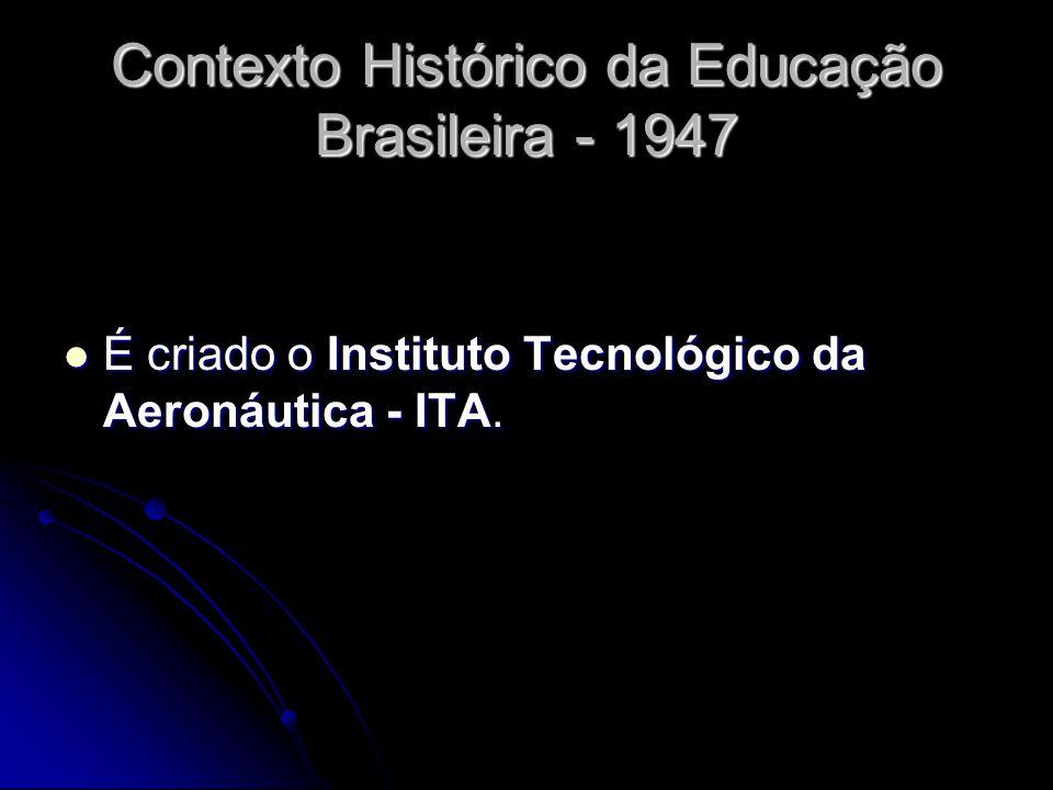 Contexto Histórico da Educação Brasileira - 1947 É criado o Instituto Tecnológico da Aeronáutica - ITA. É criado o Instituto Tecnológico da Aeronáutic