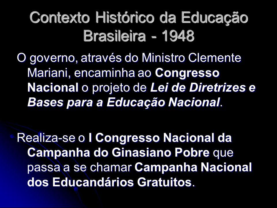 Contexto Histórico da Educação Brasileira - 1948 O governo, através do Ministro Clemente Mariani, encaminha ao Congresso Nacional o projeto de Lei de