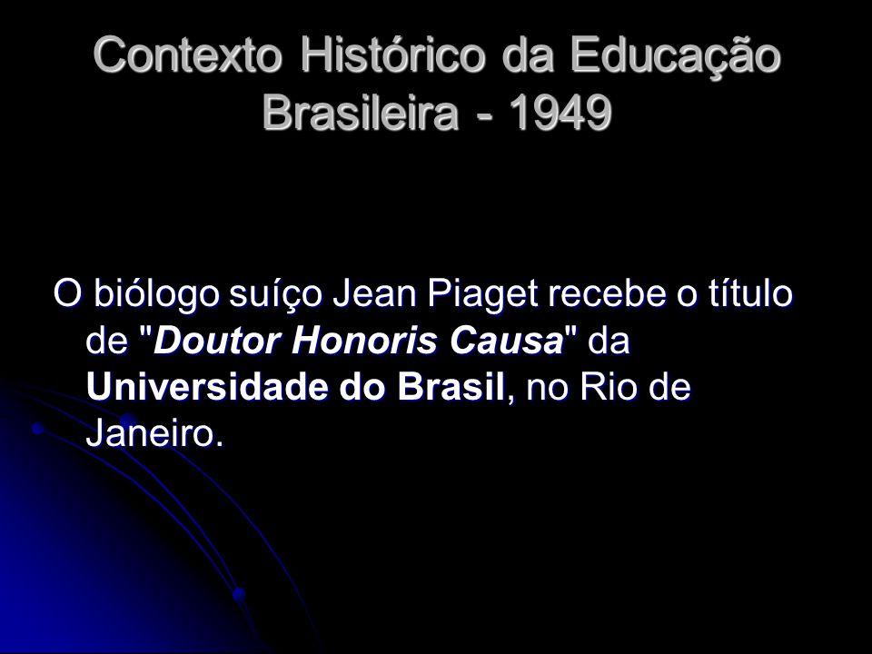 Contexto Histórico da Educação Brasileira - 1949 O biólogo suíço Jean Piaget recebe o título de