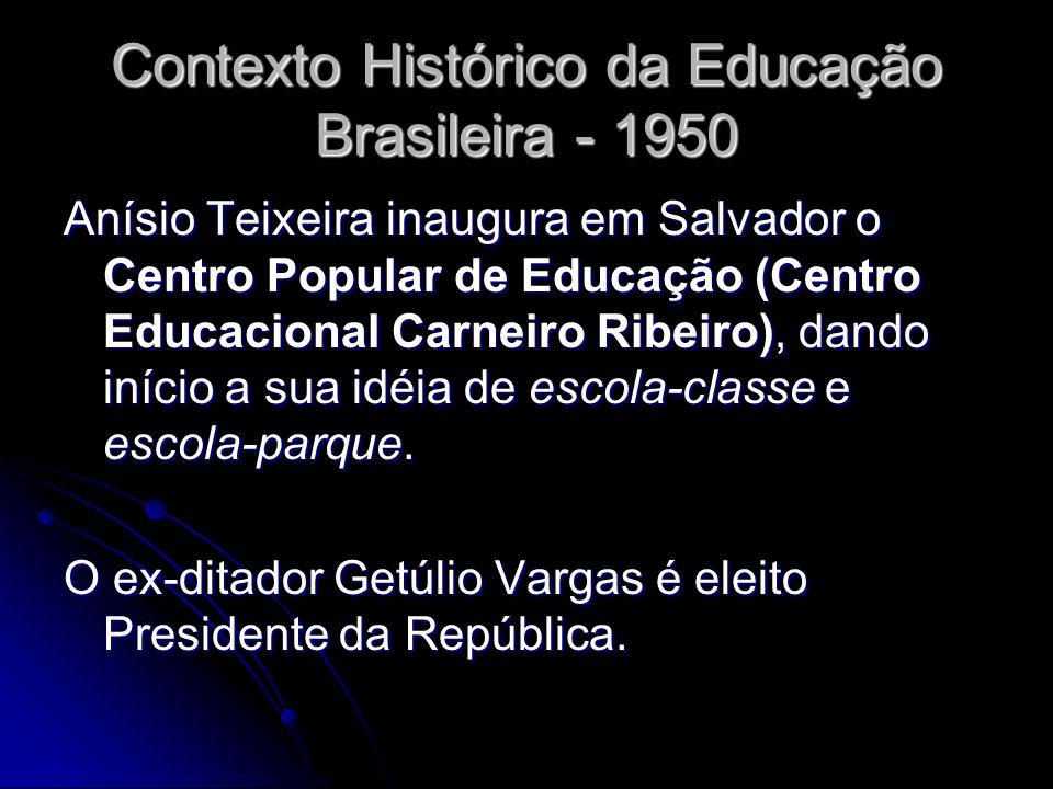 Contexto Histórico da Educação Brasileira - 1950 Anísio Teixeira inaugura em Salvador o Centro Popular de Educação (Centro Educacional Carneiro Ribeir