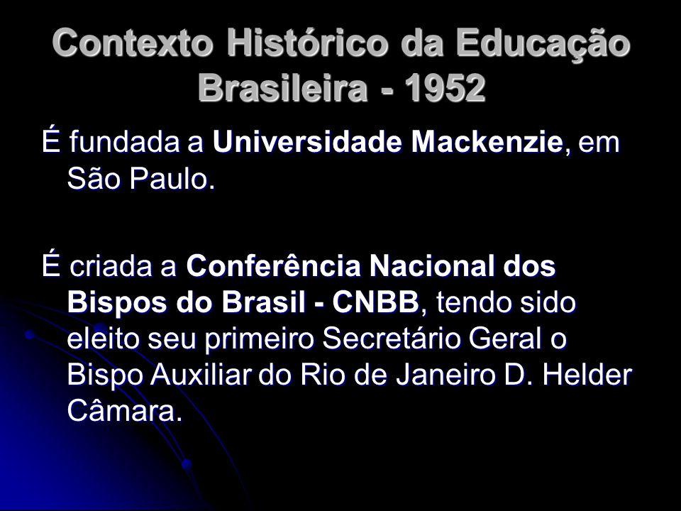Contexto Histórico da Educação Brasileira - 1952 É fundada a Universidade Mackenzie, em São Paulo. É criada a Conferência Nacional dos Bispos do Brasi