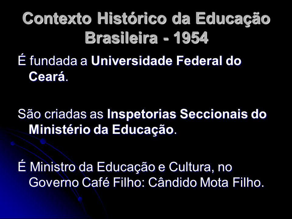 Contexto Histórico da Educação Brasileira - 1954 É fundada a Universidade Federal do Ceará. São criadas as Inspetorias Seccionais do Ministério da Edu