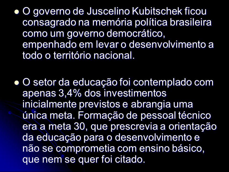 O governo de Juscelino Kubitschek ficou consagrado na memória política brasileira como um governo democrático, empenhado em levar o desenvolvimento a