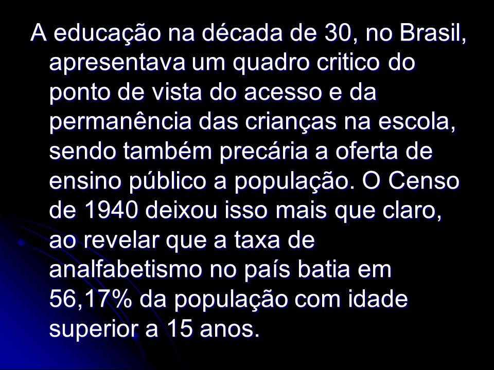 A educação na década de 30, no Brasil, apresentava um quadro critico do ponto de vista do acesso e da permanência das crianças na escola, sendo também