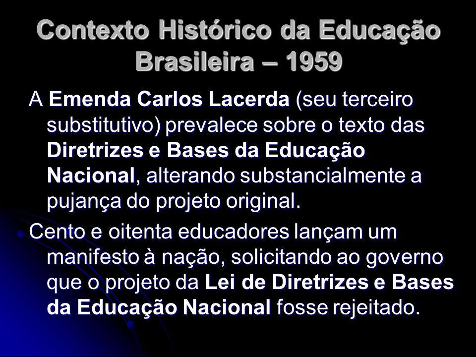 Contexto Histórico da Educação Brasileira – 1959 A Emenda Carlos Lacerda (seu terceiro substitutivo) prevalece sobre o texto das Diretrizes e Bases da