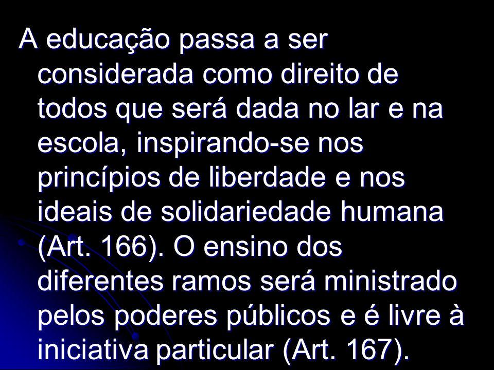 A educação passa a ser considerada como direito de todos que será dada no lar e na escola, inspirando-se nos princípios de liberdade e nos ideais de s