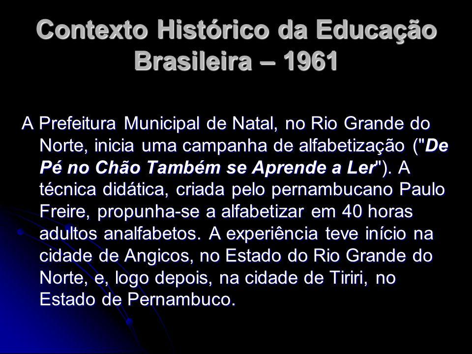 Contexto Histórico da Educação Brasileira – 1961 A Prefeitura Municipal de Natal, no Rio Grande do Norte, inicia uma campanha de alfabetização (