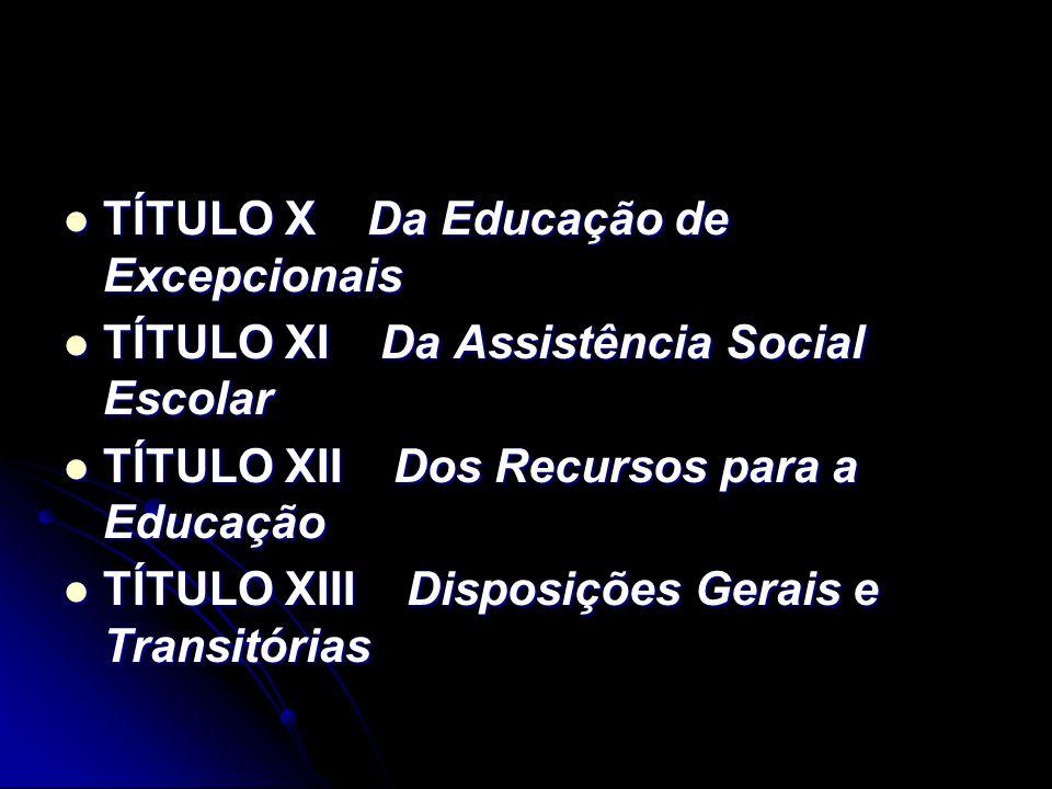 TÍTULO X Da Educação de Excepcionais TÍTULO X Da Educação de Excepcionais TÍTULO XI Da Assistência Social Escolar TÍTULO XI Da Assistência Social Esco