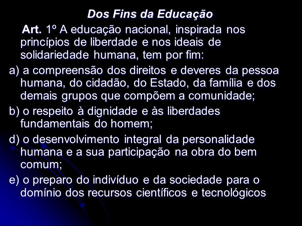 Dos Fins da Educação Art. 1º A educação nacional, inspirada nos princípios de liberdade e nos ideais de solidariedade humana, tem por fim: Art. 1º A e