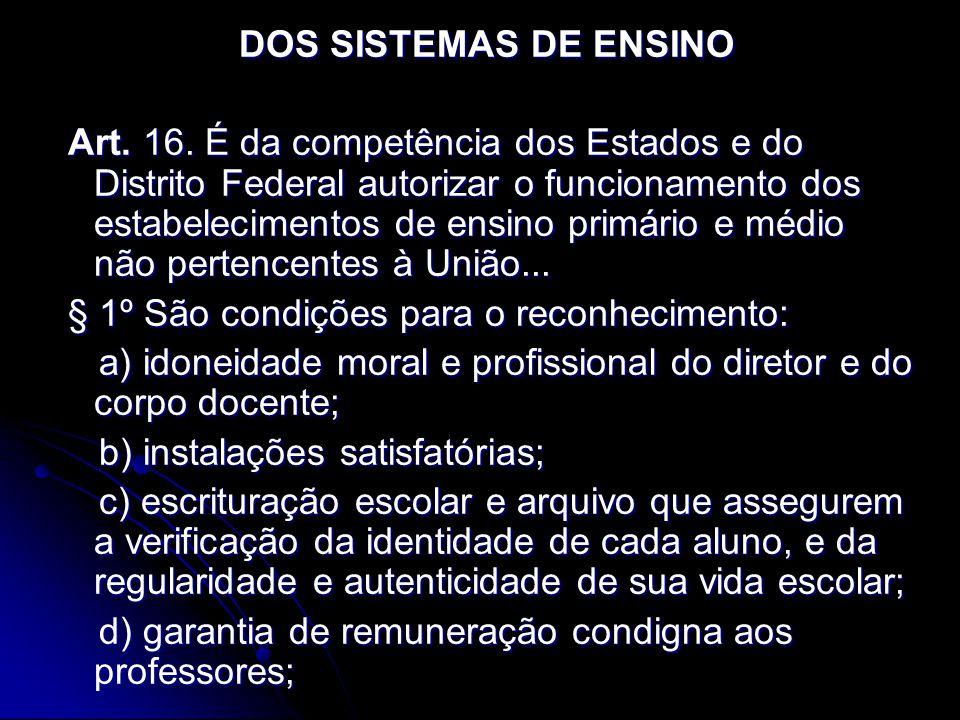 DOS SISTEMAS DE ENSINO Art. 16. É da competência dos Estados e do Distrito Federal autorizar o funcionamento dos estabelecimentos de ensino primário e