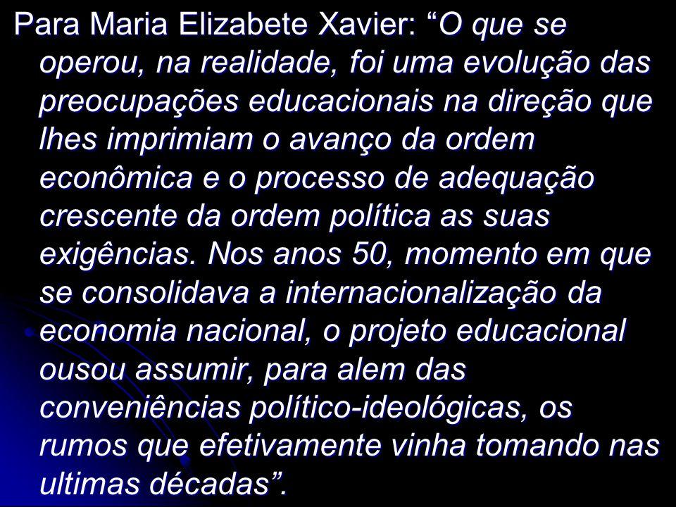 """Para Maria Elizabete Xavier: """"O que se operou, na realidade, foi uma evolução das preocupações educacionais na direção que lhes imprimiam o avanço da"""