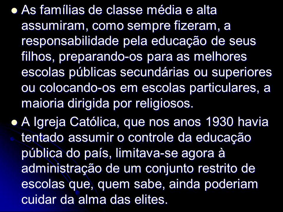 As famílias de classe média e alta assumiram, como sempre fizeram, a responsabilidade pela educação de seus filhos, preparando-os para as melhores esc