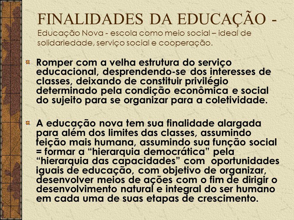 FINALIDADES DA EDUCAÇÃO - Educação Nova - escola como meio social – ideal de solidariedade, serviço social e cooperação. Romper com a velha estrutura