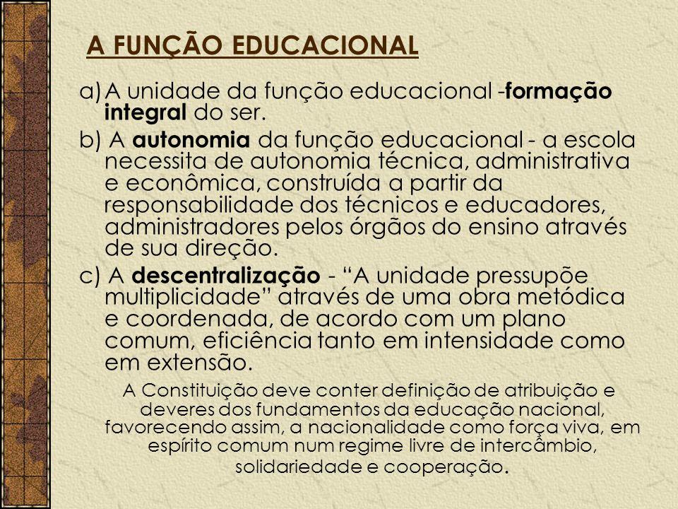 A FUNÇÃO EDUCACIONAL a)A unidade da função educacional - formação integral do ser. b) A autonomia da função educacional - a escola necessita de autono
