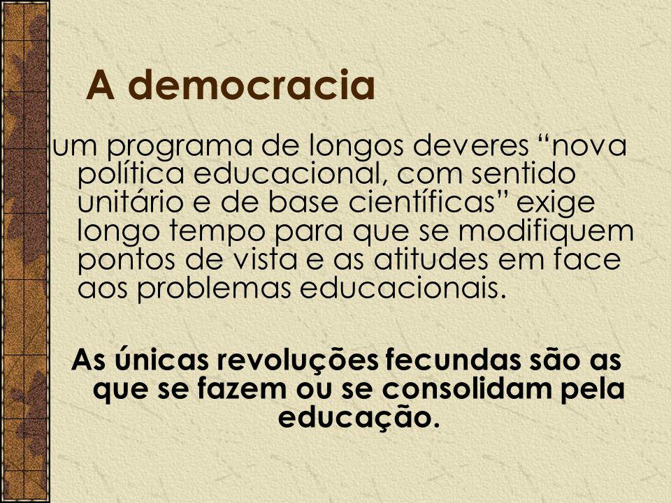 """A democracia um programa de longos deveres """"nova política educacional, com sentido unitário e de base científicas"""" exige longo tempo para que se modif"""