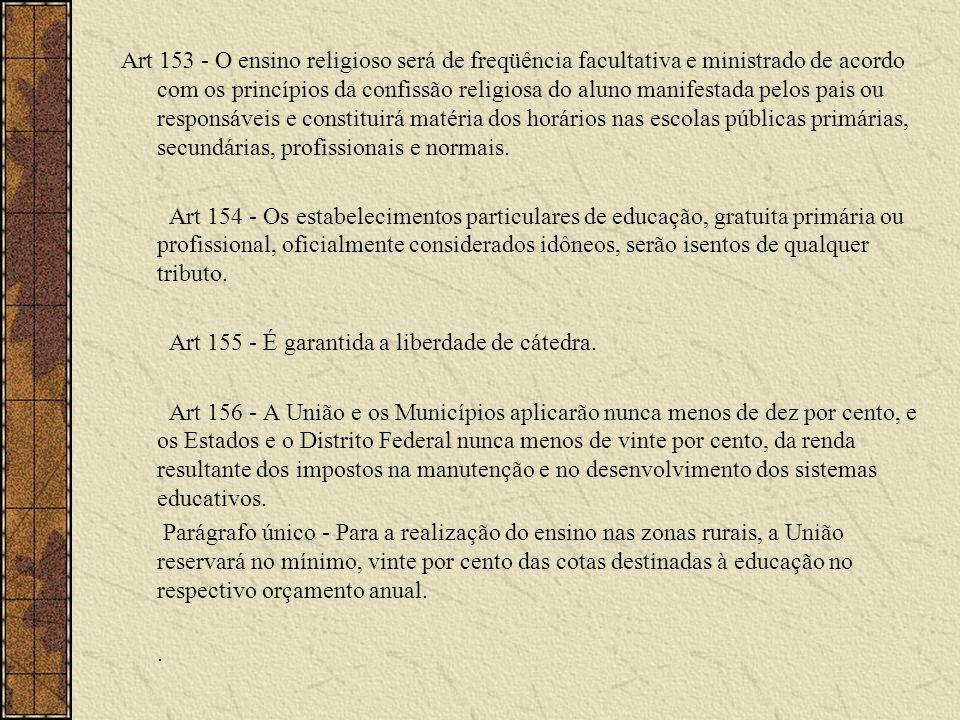 Art 153 - O ensino religioso será de freqüência facultativa e ministrado de acordo com os princípios da confissão religiosa do aluno manifestada pelos