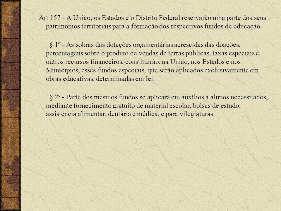 Art 157 - A União, os Estados e o Distrito Federal reservarão uma parte dos seus patrimônios territoriais para a formação dos respectivos fundos de ed
