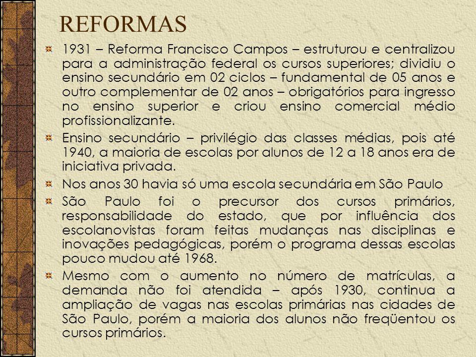 REFORMAS 1931 – Reforma Francisco Campos – estruturou e centralizou para a administração federal os cursos superiores; dividiu o ensino secundário em