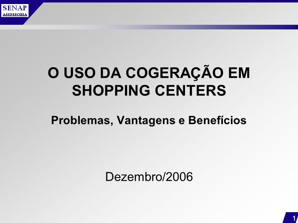 1 O USO DA COGERAÇÃO EM SHOPPING CENTERS Problemas, Vantagens e Benefícios Dezembro/2006