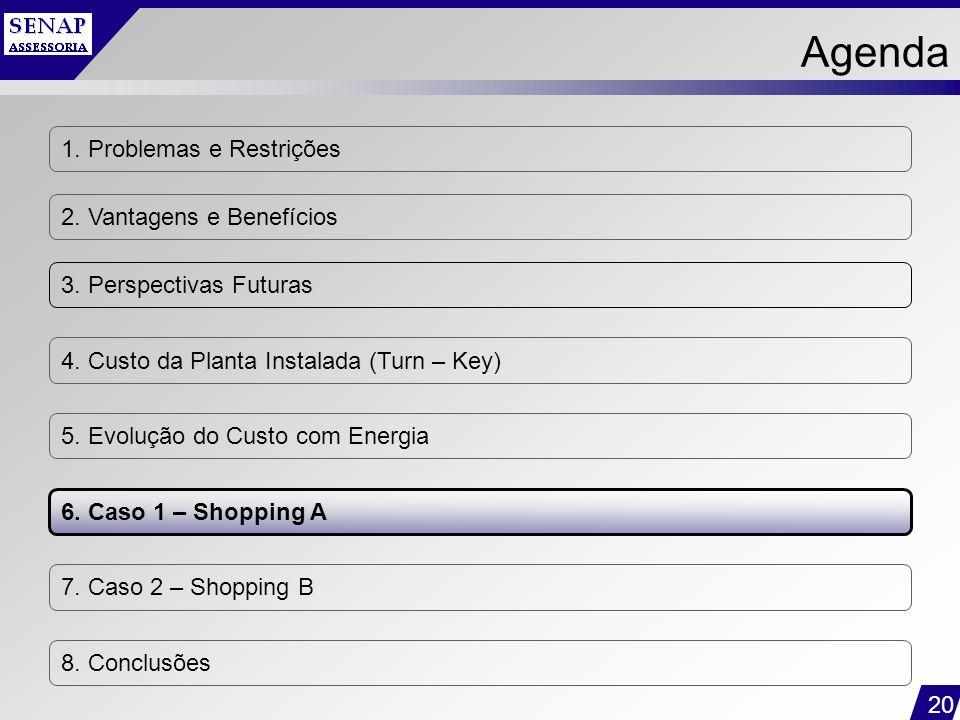 20 1. Problemas e Restrições 2. Vantagens e Benefícios 3. Perspectivas Futuras 4. Custo da Planta Instalada (Turn – Key) 5. Evolução do Custo com Ener