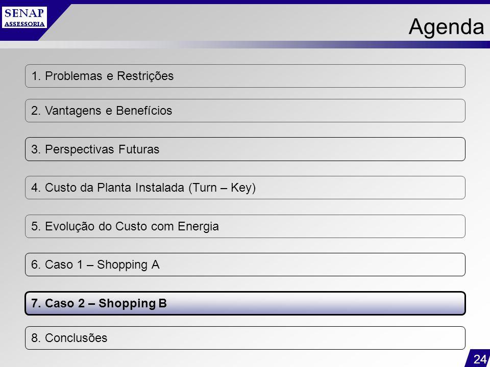 24 1. Problemas e Restrições 2. Vantagens e Benefícios 3. Perspectivas Futuras 4. Custo da Planta Instalada (Turn – Key) 5. Evolução do Custo com Ener