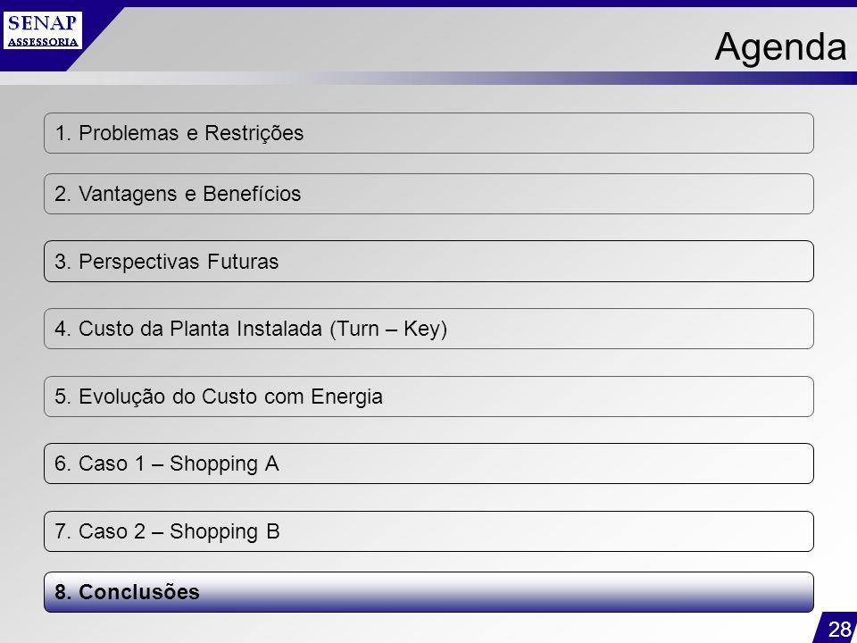 28 1. Problemas e Restrições 2. Vantagens e Benefícios 3. Perspectivas Futuras 4. Custo da Planta Instalada (Turn – Key) 5. Evolução do Custo com Ener
