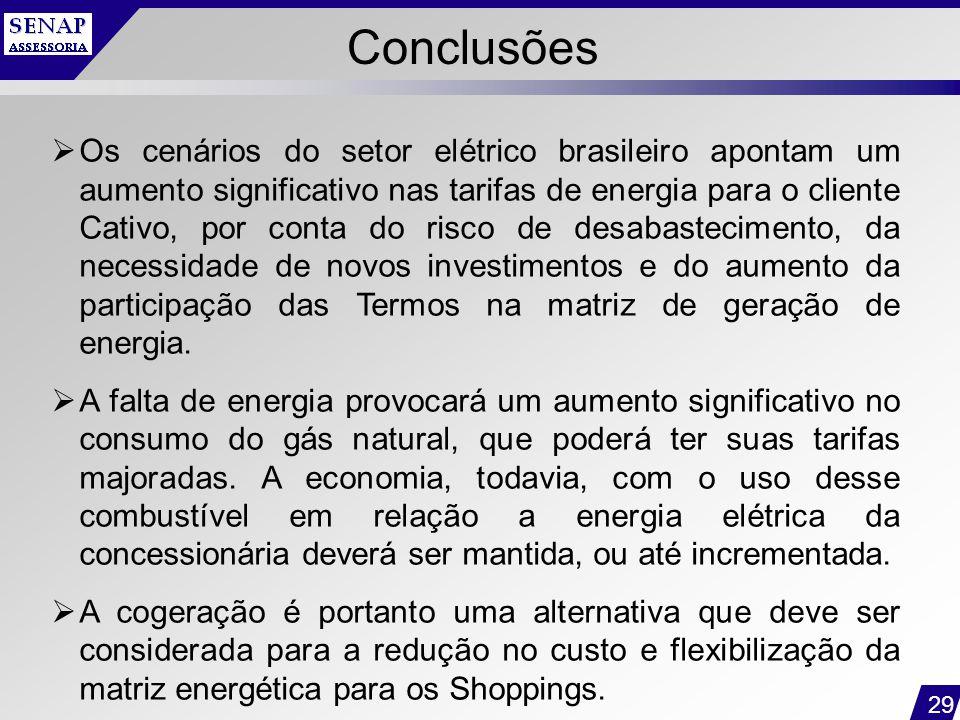 29 Conclusões  Os cenários do setor elétrico brasileiro apontam um aumento significativo nas tarifas de energia para o cliente Cativo, por conta do r