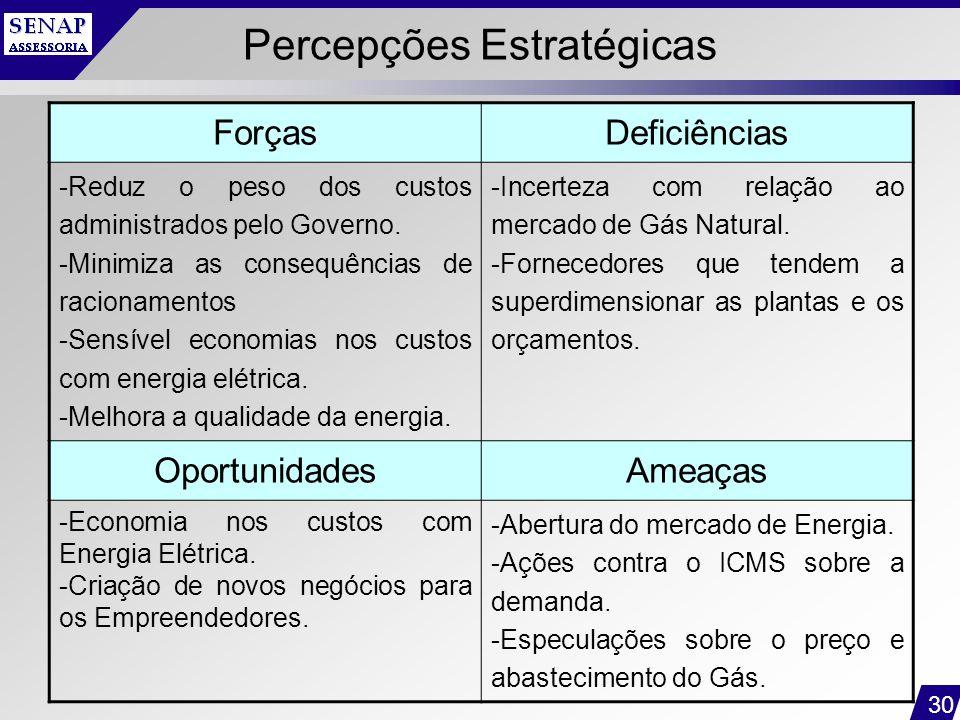 30 Percepções Estratégicas ForçasDeficiências -Reduz o peso dos custos administrados pelo Governo. -Minimiza as consequências de racionamentos -Sensív