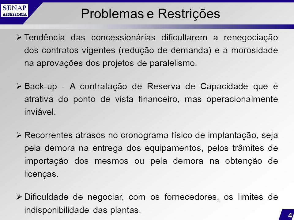 4 Problemas e Restrições  Tendência das concessionárias dificultarem a renegociação dos contratos vigentes (redução de demanda) e a morosidade na apr