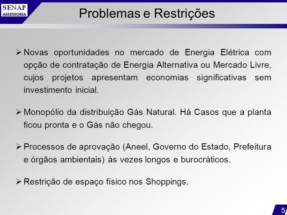 5 Problemas e Restrições  Novas oportunidades no mercado de Energia Elétrica com opção de contratação de Energia Alternativa ou Mercado Livre, cujos