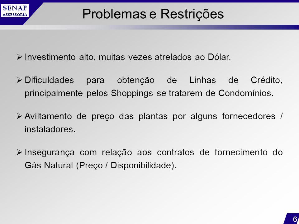 6 Problemas e Restrições  Investimento alto, muitas vezes atrelados ao Dólar.  Dificuldades para obtenção de Linhas de Crédito, principalmente pelos