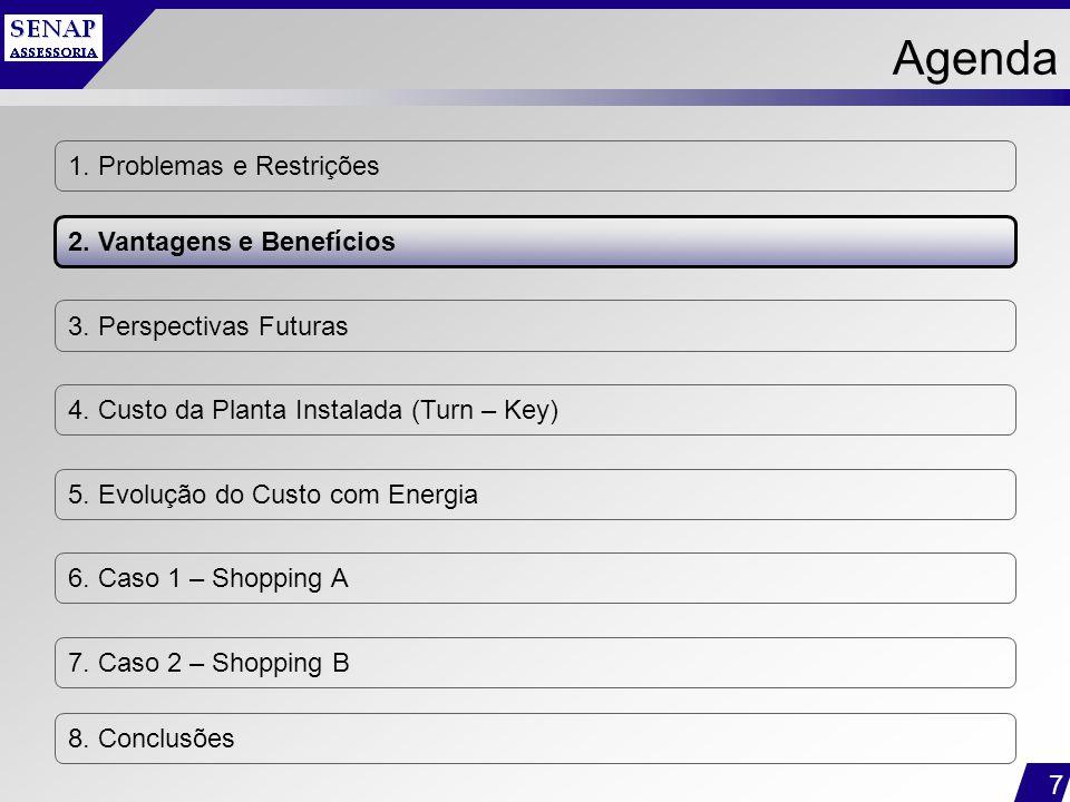 7 1. Problemas e Restrições 2. Vantagens e Benefícios 3. Perspectivas Futuras 4. Custo da Planta Instalada (Turn – Key) 5. Evolução do Custo com Energ