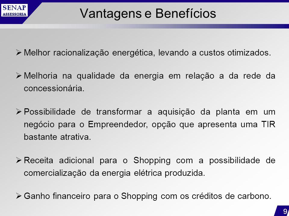 9 Vantagens e Benefícios  Melhor racionalização energética, levando a custos otimizados.  Melhoria na qualidade da energia em relação a da rede da c