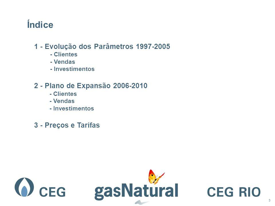 3 Índice 1 - Evolução dos Parâmetros 1997-2005 - Clientes - Vendas - Investimentos 2 - Plano de Expansão 2006-2010 - Clientes - Vendas - Investimentos 3 - Preços e Tarifas