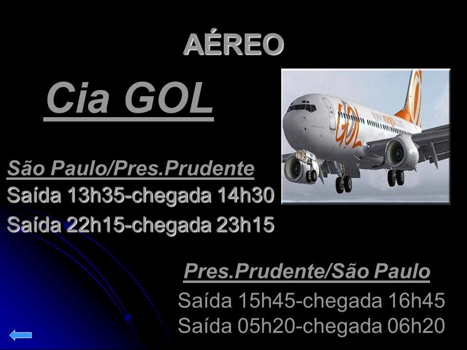 AÉREO Saída 13h35-chegada 14h30 Saída 22h15-chegada 23h15 São Paulo/Pres.Prudente Pres.Prudente/São Paulo Saída 15h45-chegada 16h45 Saída 05h20-chegad