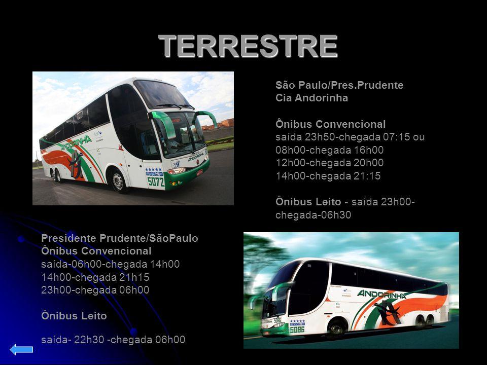 TERRESTRE TERRESTRE Presidente Prudente/SãoPaulo Ônibus Convencional saída-06h00-chegada 14h00 14h00-chegada 21h15 23h00-chegada 06h00 Ônibus Leito sa