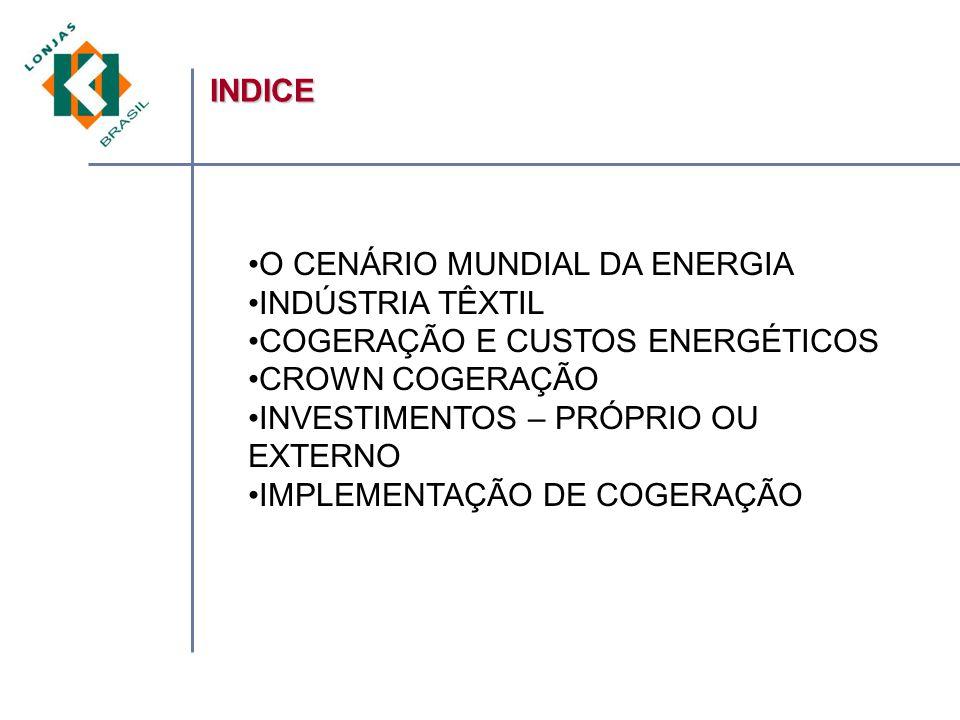 INDICE O CENÁRIO MUNDIAL DA ENERGIA INDÚSTRIA TÊXTIL COGERAÇÃO E CUSTOS ENERGÉTICOS CROWN COGERAÇÃO INVESTIMENTOS – PRÓPRIO OU EXTERNO IMPLEMENTAÇÃO DE COGERAÇÃO