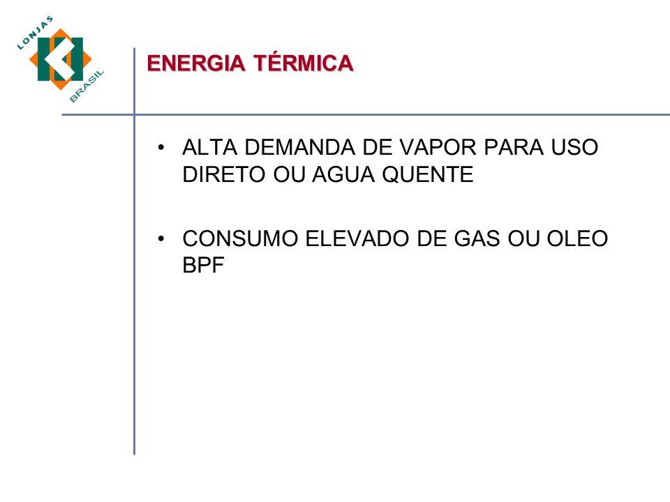 ALTA DEMANDA DE VAPOR PARA USO DIRETO OU AGUA QUENTE CONSUMO ELEVADO DE GAS OU OLEO BPF ENERGIA TÉRMICA