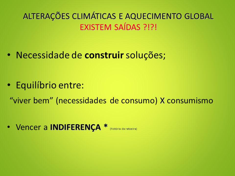 ALTERAÇÕES CLIMÁTICAS E AQUECIMENTO GLOBAL EXISTEM SAÍDAS ! .